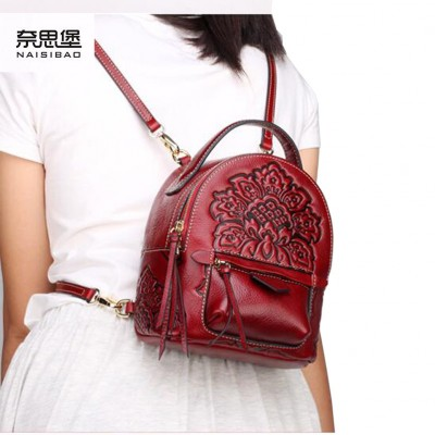 2017 new genuine leather bag quality fashion leather backpack quality fashion mini backpack