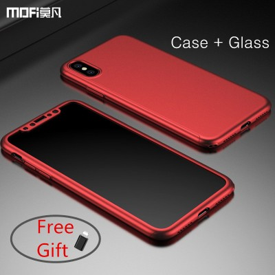 MOFI phone case For iphone X case full cover front back set for iphoneX case red PC hard luxury for X edition case capa coque funda 360 cover case