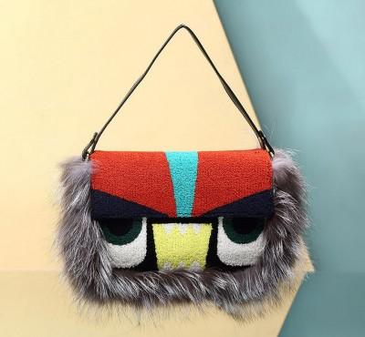 Luxury Handbags Women Baguetter Bags 2017 Winter Fox Fur Monster Flap Bags Fend Shoulder Crossbody High Quality Bolsa Feminina