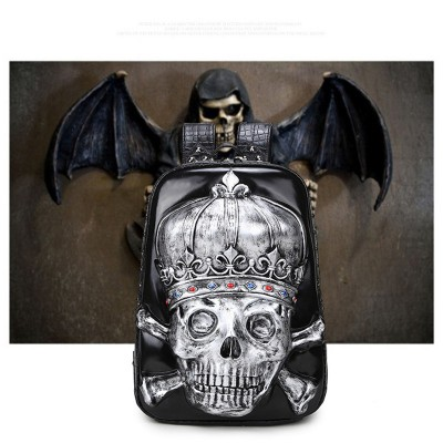 3D Skull Backpack PU Leather Backpack Halloween Necessary,ROCK!