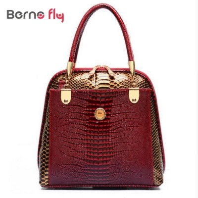 New fashion women shell bag brand designer embossed handbag crocodile pattern pu leather tote bag ladies shoulder messenger bag