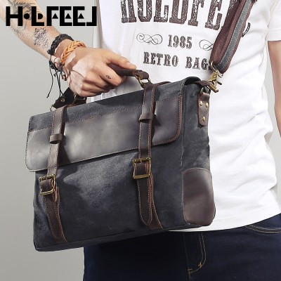 2017 MEN canvas crazy horse fashion vintage leather bag casual messenger bags briefcase male women's handbag