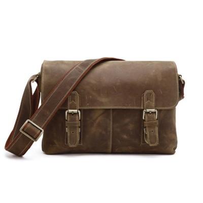 Vintage New Arrival Hot Sale Genuine Crazy Horse Leather Men's Messenger Bag Man Shoulder Sling Crossbody Laptops Handbag 2017