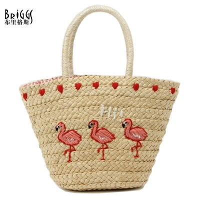BRIGGS New 2017 Summer Casual Straw Beach Bag Fashion Animal Prints Woman Straw Bags Women's Handbag Top-handle Bucket Bag