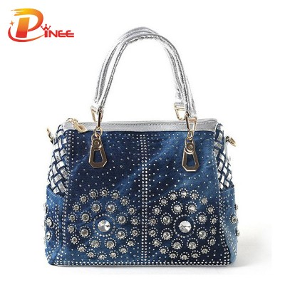 Rhinestone Handbags Designer Denim Handbags Casual Ladies Tote Bags Designer Crystal Diamond Women Messenger Bags Famous Brand Luxury Handbags Women Bags