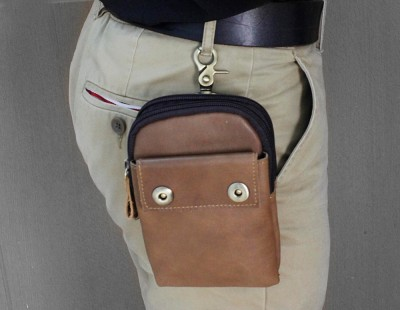 Men's Genuine Leather Zipper Wallet Biker Fanny Waist Pack Bag