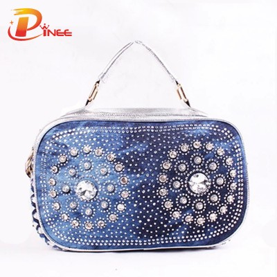 Rhinestone Handbags Designer Denim Handbags 2 Colors Summer Fashion New Meave Women Luxury PU Handbag Lady Wild Crystal Diamond Denim Jean Shoulder Bag