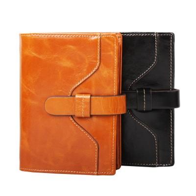 Garanteed 100% Oil Wax Genuine Leather Women Short Wallet  Bifold Purse Brand Design Fashion Vintage Money Bag With String 2012
