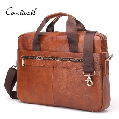 CONTACT'S 2017 Fashion Genuine Leather Men Briefcase Cowhide Men's Messenger Bags 14 Laptop Business Bag Luxury Lawyer Handbags