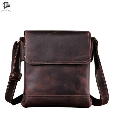 fashion Men's Crazy horse genuine Leather Briefcase Handbag Messenger Shoulder Laptop Bag Purse flap pocket messenger bag