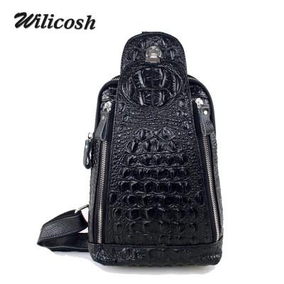 Bags Men Famous Brand Genuine Leather Man Chest Pack New Designer Crocodile Waist Pack Male Crossbody BagMen's Travel Bag WL219