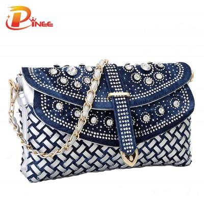 Rhinestone Handbags Designer Denim Handbags Fashion women bag new casual lady shoulder bags designer handbags jean bags woman purses