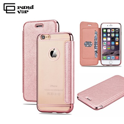 Cut Rose Gold Case For iPhone 7 6 6s 6 Plus Luxury Plating Plate Case Flip Back Clear Mobile Phone Case For iphone 5 5s SE