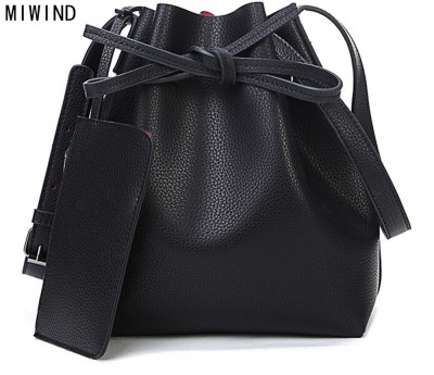 MIWIND Fashion 2017 candy color fashion all-match bucket bag  pu leather one shoulder cross-body women's handbags