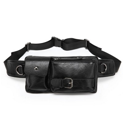 Leather Fanny Pack 2017 Fanny Waist Packs Bag Men Women Multifunction Black/Coffee Shoulder Leather Waist Bag Travel Retro Style Phone Pockets