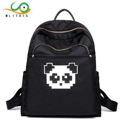 MLIT Black Printing Backpack Women Bags Panda Backpack For School Bag Nylon Waterproof Taschen Women Rucksack Mochila Lona Mujer