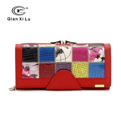 Qianxilu Brand Fashion Women Wallet Genuine Leather Patchwork Purse Female Long Design 2017