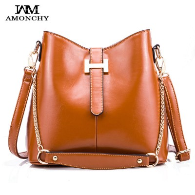 Genuine Leather Vintage Women's Shoulder Bags Cowhide Lady Messenger Bucket Bag Chain Letter Female Totes Retro Tote Dama Bolsa