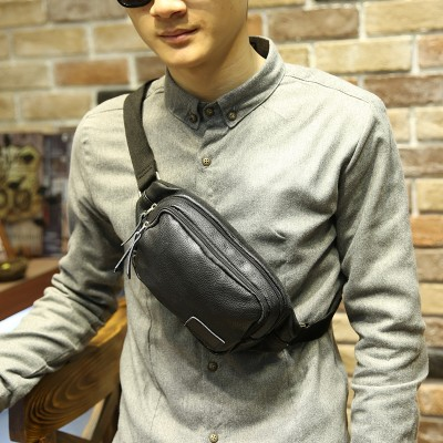Leather Fanny Pack Multifunctional Fanny Bag Casual Waist Pack Bag Suit for Outside black PU Leather Fashion bag Unisex Phone Belt Bag Coin Purse
