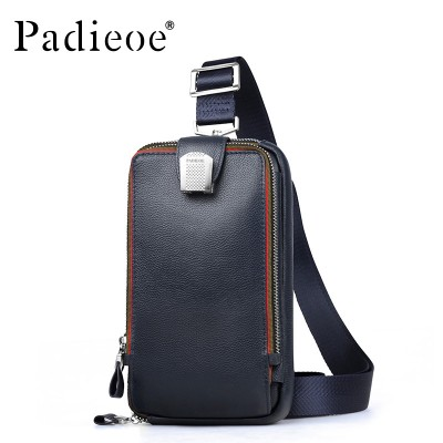 Padieoe Brand High Quality Waist Pack For Men Small Casual Men Messenger Bag Fashion Crossbody Bag Genuine Leather Chest Bag