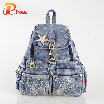 American apparel denim backpack Fashion 2017 Women School Bags Preppy Style Lady Backpack Casual Denim Packsack Rucksacks For Girls black blue denim backpack