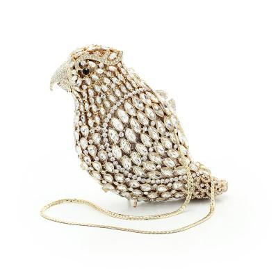 Fashion Women Luxury Crystal Clutches Evening Bag Colourful Bird Shape Wedding Clutch Purse Diamonds Party Handbags (88193A-GS)