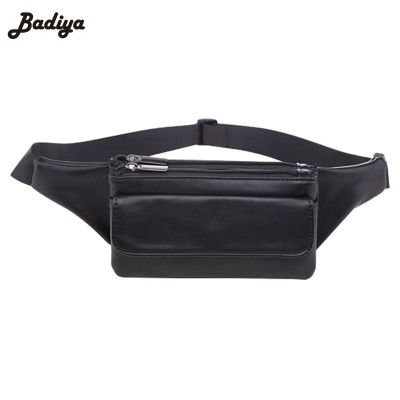 Leather Fanny Pack Multi Layer Fanny Pack Fashion Zipper Design Women Waist Bag New Design PU Leather Travel Fanny Bag Soft Black