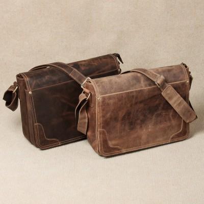 Vintage Genuine Crazy Horse Leather Brown Leather Weekend Bag Shoulder Men's Messenger Bag laptops