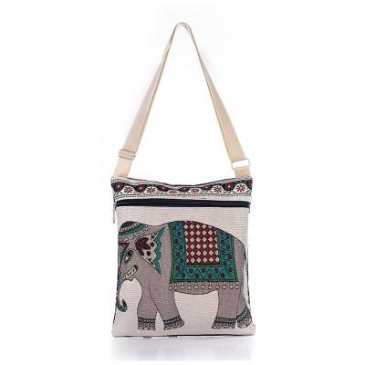 Hot Sale Cartoon Elephant Print Messenger Bags Canvas Women Shoulder Bags For Female Casual Canvas Bags Owl Design Crossbody Bag