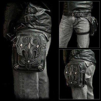 2017 New Top Quality PU Leather Men's Waist Fanny Brand Ride Leg Drop Bag Punk Rock Motorcycle Skull Messenger Shoulder Pack