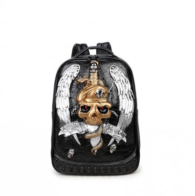 2017 Fashion 3D Skull printed men backpacks large capacity men's leather backpack black rivet anime schoolbag mochila masculina
