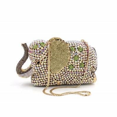 New elephant luxurious wedding bag Clutch high grade full diamond crystal evening bag ladies party prom dinner clutch handbag