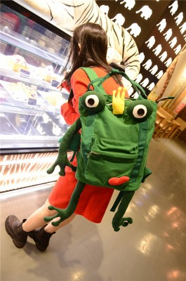 The Frog Prince Crown Green Handmade Canvas Backpacks Shoulder Bags Personality Funny Original Backpacks Candy Color Bags