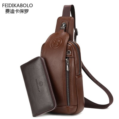 FD BOLO Brand Bag Men Chest Pack Single Shoulder Strap Back Bag Leather Travel Men Crossbody Bags Vintage Rucksack Chest Bag