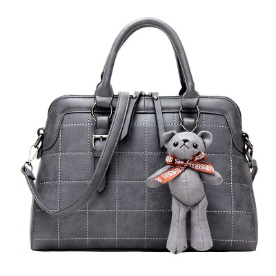 Women Leather Handbags 2017 Plaid Shell Bag Female Fashion Shoulder Bag Crossbody Bear Tote for Ladies Big Messenger Bags Bolsa