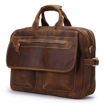 Vintage Crazy Time-limited Horse Leather Man Tote Bag Designer Handbag Mens Bags New Men Messenger Shoulder Laptop Briefcase
