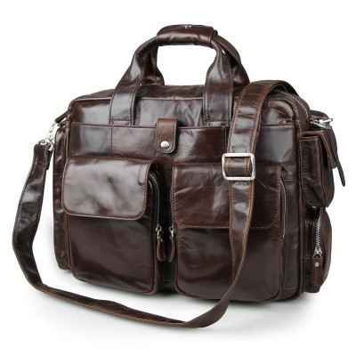 2017 Top Time-limited Oil Wax Leather Bag Men Handbags Cowhide Genuine Crossbody Mens Travel Bags 15 Inches Laptop Briefcase