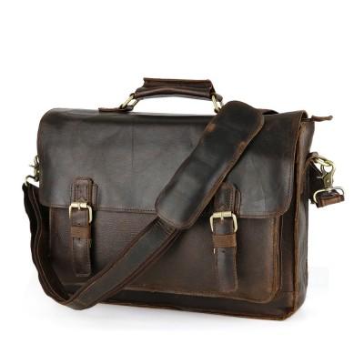 Vintage Men Single Shoulder Bag 100% Genuine Leather Briefcase Cowhide Travel Messenger Bag Man Crazy Horse Leather Business Bag