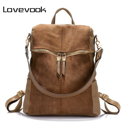 Backpacks for Girls vintage women backpack nubuck leather+PU school backpacks for teenage girls casual large capacity shoulder bags