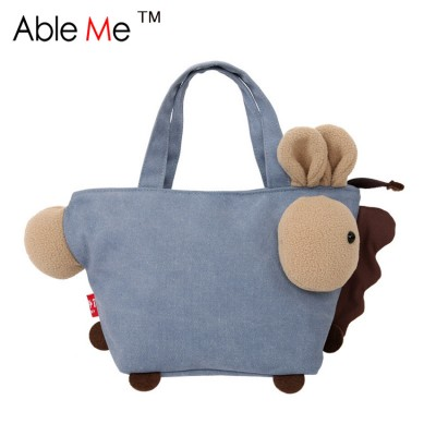 Patchwork Cloth Solid And Plaid Printing Girls Handbag Lovely Animal Horse Shape Shoulder Bag Large Capacity Tote Bags