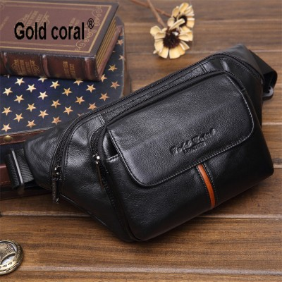 New arrival genuine leather men waist pack casual travel waist bag for men fashion male shoulder messenger bag chest bag