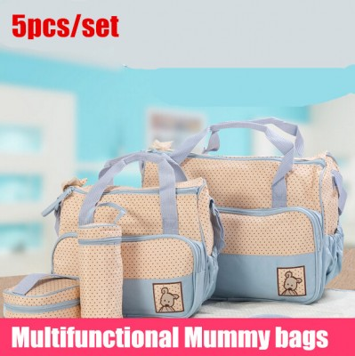 New high-quality 5 each  set  hand bags Diaper Nappy Durable  bag mummy bag mother baby  baby bags for mom 5 color
