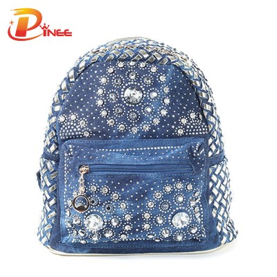 American apparel denim backpack Preppy Style School Student Denim Bag Women Messenger Bag Lengthen Double Straps Back Pack Tote Teenage Girls black blue denim backpack
