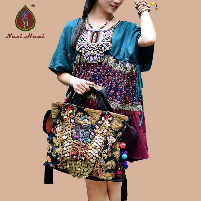 HOT Original Ethnic exotic gold embroidery elephant Shoulder Bags Vintage pure handmade beaded pompon women Messenger Bags