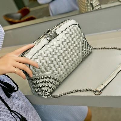2017 Stud Knit Leather Vintage Messenger Bag Weave Pattern Shoulder bag Women Rock Punk Rivet Chain BagVogue Crossbody Bags