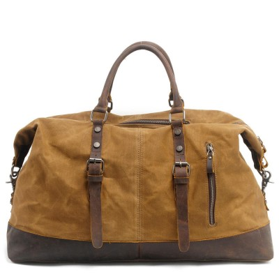 2017 Real Vintage Military Canvas Crazy Horse Leather Men Travel Carry Luggage Duffel Bags Tote Large Weekend Bag Overnight