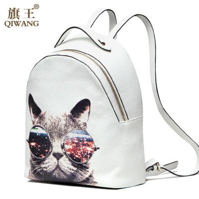 Cosplay Bag Qiwang Young Lady Fashion Genuine Leather Backpack CAT Backpack Cute School Bag Luxury College Bag for Girl Cosplay Party Cool