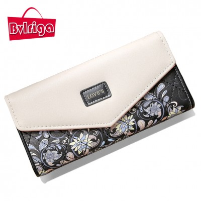 BVLRIGA Wallet printing leather wallet women coin pocket famous brands purse high quality female clutch bag handbag long wallets