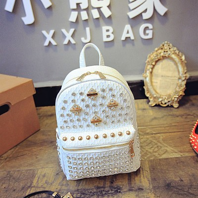 Rhinestone woman backpack rivets design schoolbags metal decoration travel bags luxury brand mochilas mini backpack ladies bags