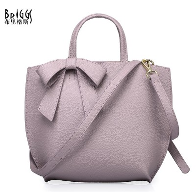 BRIGGS Brand Bag Fashion Bow Women Shell Bag Genuine Leather Tote Bag Female Embossed Pattern Shoulder Bags Elegant Handbags